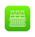 bottles milk icon green vector image vector image