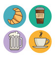 bread and beverage icon vector image