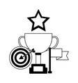 business trophy target flag and star award vector image