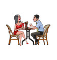 cartoon man and woman are sitting at a table