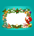 christmas frame with blank space for greeting sign vector image vector image