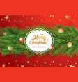 christmas greeting card with fir branch on red vector image