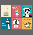 collection doodle cute cartoon birthday card vector image vector image
