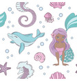dolphin smile mermaid seamless pattern vector image