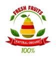 Ebmblem with pear and fruits slices vector image vector image