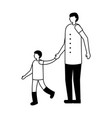 father with son holding hands vector image vector image