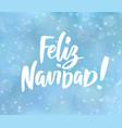 feliz navidad - spanish merry christmas text vector image