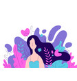 feminine woman with long hair vector image vector image