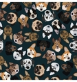 flat dark seamless pattern pedigree dogs vector image vector image