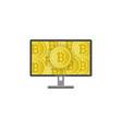 flat desktop computer monitor with bitcoins vector image vector image