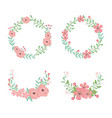 flowers and leafs wreaths and crowns decorations vector image