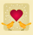 Frame heart and gold birds background vector image