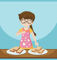 girl and two plates of sandwiches vector image