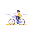 girl on bicycle going road vector image vector image