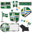 glossy icons with flag of portland oregon vector image vector image