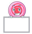 grinning with board cute lollipop character vector image vector image