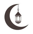half moon with lantern ramadan arabic islamic vector image