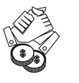hand money finance commitment teamwork together vector image