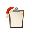happy christmas greeting card with blank paper vector image