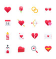 happy valentine day colourful icons set il vector image
