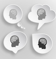 Human brain White flat buttons on gray background vector image