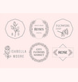 luxury flower rose logos set in trendy linear vector image