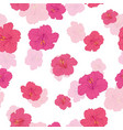 pink hibiscus flowers seamless repeat pattern vector image