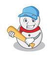 playing baseball snowman character cartoon style vector image vector image