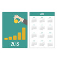 pocket calendar 2018 year week starts sunday hand vector image vector image