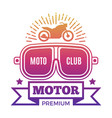 premium motor club label design vector image vector image