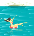 Retro poster with a girl floating in the sea vector image vector image