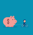 riding and pulling piggy bank business budget vector image vector image