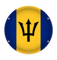 round metallic flag of barbados with screws vector image vector image