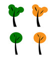 set of spring green and yellow autumn trees flat vector image