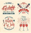 set vintage 4th july design fourth july vector image