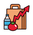 shopping bag with arrow up and groceries line and vector image vector image