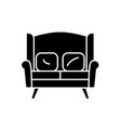 sofa for two black icon sign on isolated vector image vector image