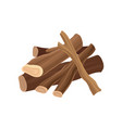 stack of firewood dry logs for bonfire wood vector image vector image