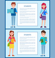 students posters set text vector image vector image