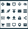 user icons set with hide unlock stabilizer and vector image