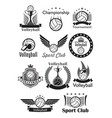 volleyball sport club awards icons set vector image