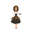 young girl in steampunk costume woman in blouse vector image vector image