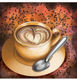 Cup of coffee on abstract colorful background vector image