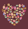 Sweets assortment of chocolates candy ice-cream vector image