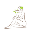 a silhouette a seated woman with leaves in her vector image