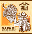 african safari - tiger hunting retro poster vector image