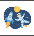 astronaut hand drawn concept for kids vector image vector image