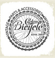bicycle monochrome wheel custom shop vector image vector image