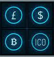 bitcoin and yen ico and dollar icons set vector image vector image