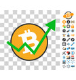 bitcoin growth trend icon with bonus vector image vector image